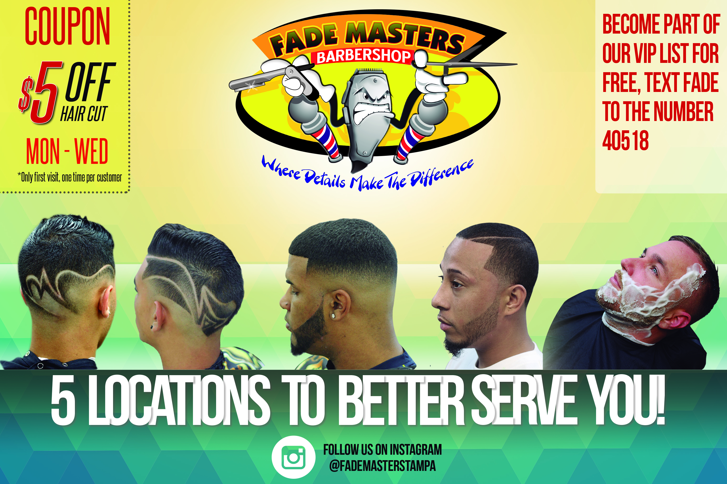 Get $5 OFF your first haircut at Fade Masters Barber Shop